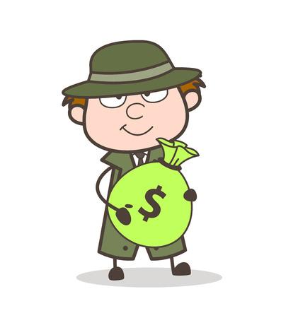 Cartoon Detective Holding a Bundle of Dollars Vector Illustration
