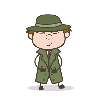 Cartoon Detective Trying to Laugh Vector Illustration Illustration