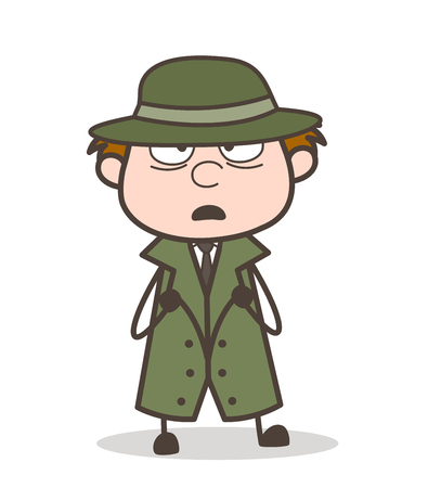 Cartoon Detective Shocking Expression Vector Illustration