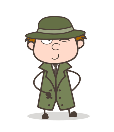 Cartoon Detective with Naughty Smile and Winking Eye Vector Illustration