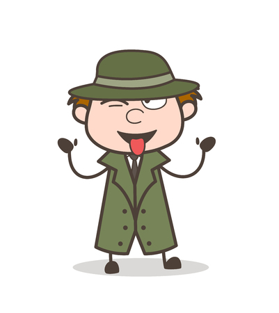 Cartoon Detective with Tongue Out Expression Vector Illustration