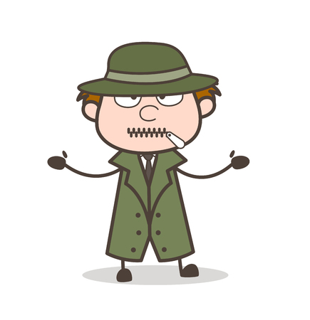 Cartoon Detective Zipper-Mouth Face Vector Illustration