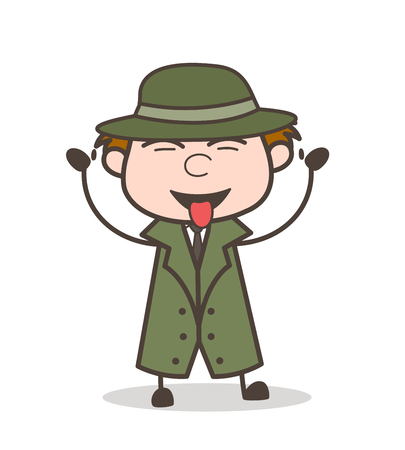 Cartoon Detective Showing Tongue and Teasing Vector Illustration