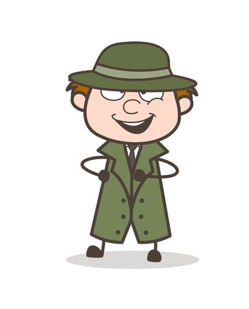 Cartoon Funny Detective Dancing Vector Illustration