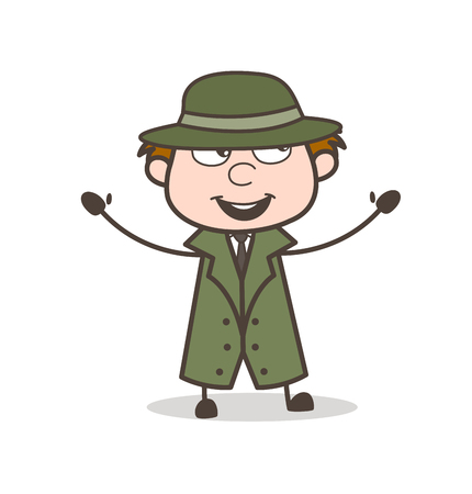 Cartoon Detective Laughing and Gesturing Vector Illustration