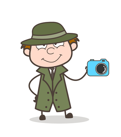Cartoon Detective Showing Camera Vector Illustration