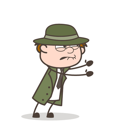 Cartoon Detective Trying to Catch Something Vector Illustration