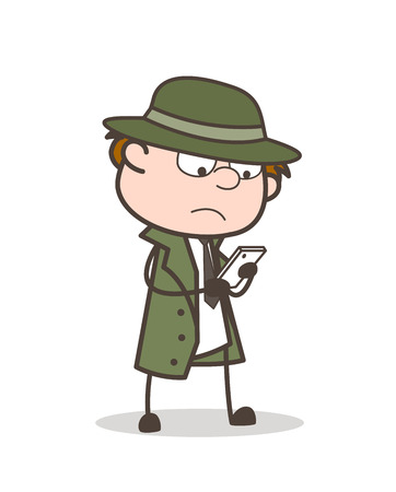 Cartoon Detective Dialing Number to Call Vector Illustration Çizim