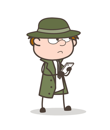 Cartoon Detective Thinking When Chatting Vector Illustration