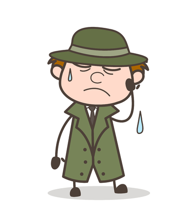 Cartoon Tired Detective Expression Vector Illustration