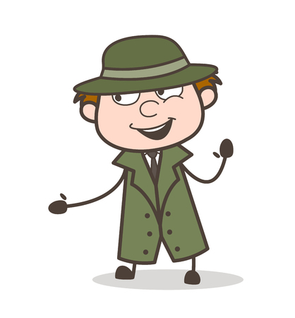 Cartoon Cheerful Detective Face Expression Vector Illustration
