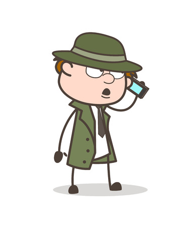 Cartoon Detective Talking with Client on Phone Vector Illustration