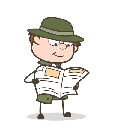 Cartoon Detective Reading News Vector Illustration Illustration