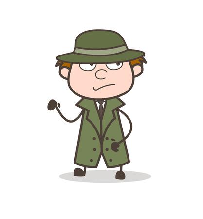 Cartoon Detective Standing Pose Vector Illustration Vettoriali
