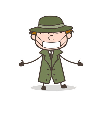 Cartoon Detective with Pollution Face Mask Vector Illustration Illustration