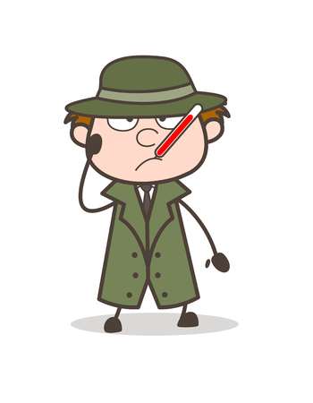 Cartoon Ill Detective with Fever Temperature in Mouth Vector Illustration Illustration