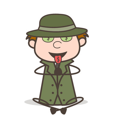 Cartoon Money Greedy Detective Vector Illustration