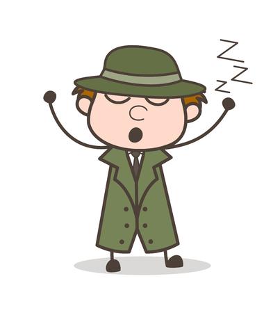 Cartoon Lazy Detective Sleeping Vector Illustration