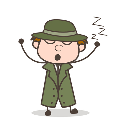 Cartoon Lazy Detective Sleeping Vector Illustration