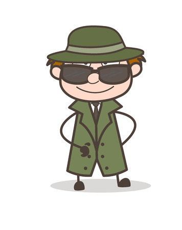 Cartoon Modern Detective with Black Sunglasses Vector Illustration