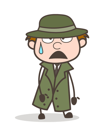 Vaery Tired Detective Expression Vector Illustration