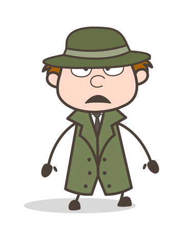 Cartoon Detective Serious Expression Vector Illustration Illustration