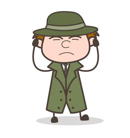 Cartoon Detective Getting Irritated Vector Illustration