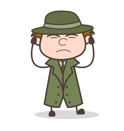 Cartoon Detective Getting Irritated Vector Illustration