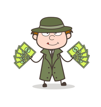 Cartoon Detective with Lots of Money Vector Illustration
