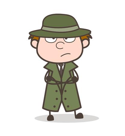 Cartoon Unhappy Detective Expression Vector Illustration