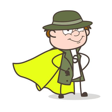 Cartoon Super Hero Detective Character Vector Illustration