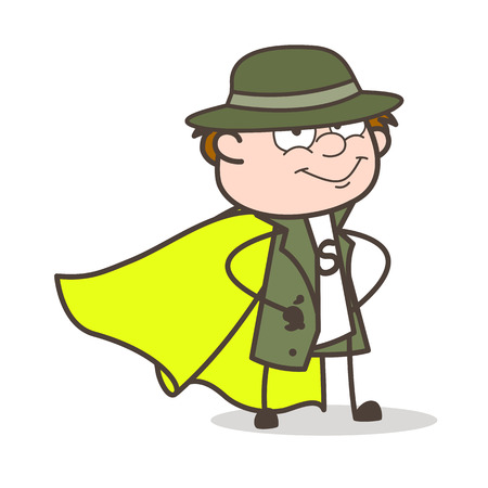 Cartoon Super Hero Detective Character Vector Illustration