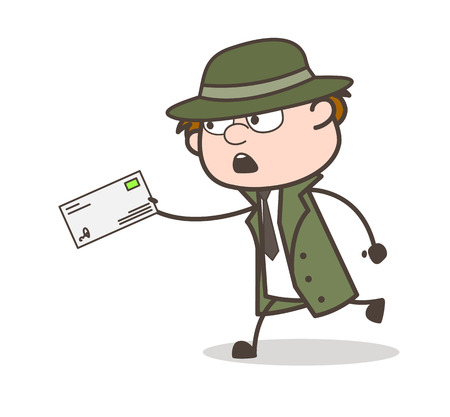 Cartoon Detective Running to Deliver the Letter Vector Illustration