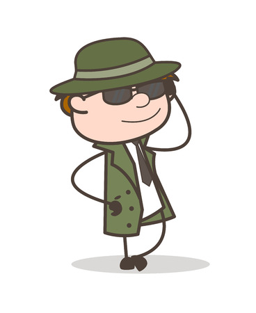 Cartoon Detective with Sunglasses in Style Vector Illustration Illustration