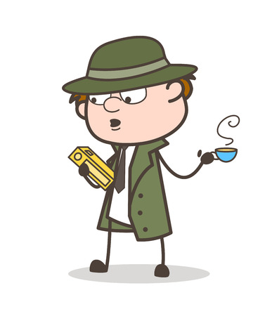 Cartoon Detective with Law Book and Hot Tea Vector Illustration