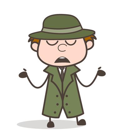 Cartoon Detective Showing Empty Hands Vector Illustration