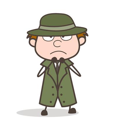Cartoon Detective Scared Face Expression Vector Illustration Illustration