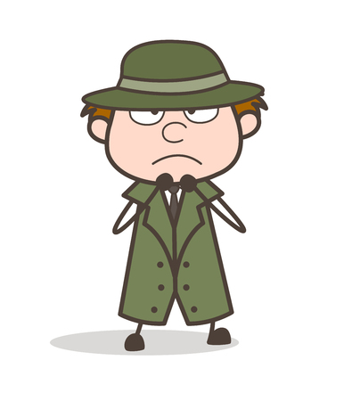 Cartoon Detective Scared Face Expression Vector Illustration Illustration