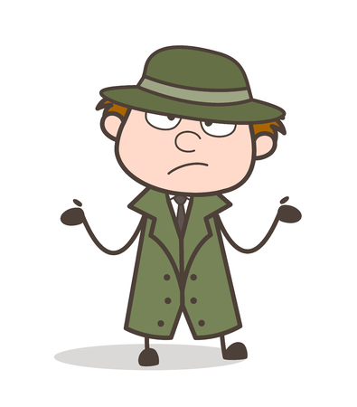 Cartoon Detective Dont Know What to Do Vector Illustration