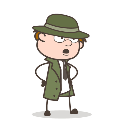 Cartoon Detective Shocking Face Expression Vector Illustration