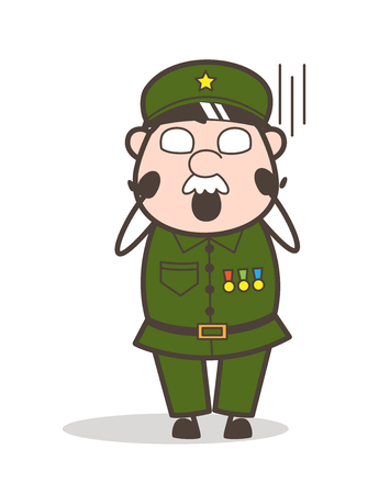Cartoon Tired Old Lady Face Expression Vector Illustration Ilustração
