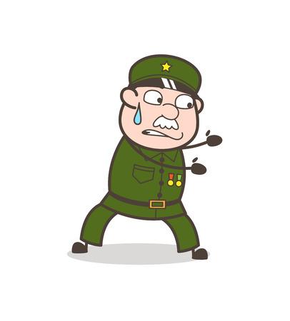Cartoon Frightened Grandma Face Expression Vector Illustration