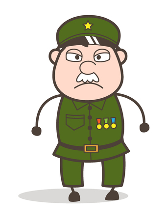 Cartoon of an old angry soldier Illustration. Ilustracja
