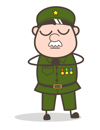 hushed: Cartoon of an old soldier with a guilt expression. Illustration