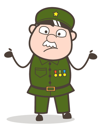Cartoon of an old confused soldier. Illustration