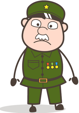 Cartoon Old soldier with a shocked expression.