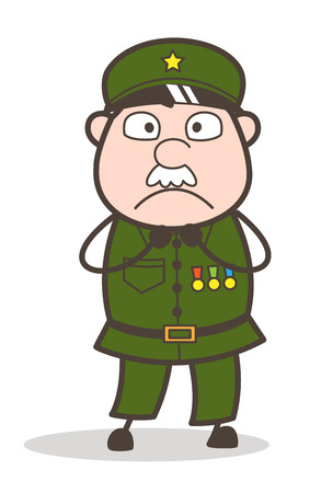 Cartoon of an old soldier with a scared expression. Иллюстрация