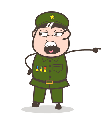 Cartoon of an old commanding soldier. Illustration