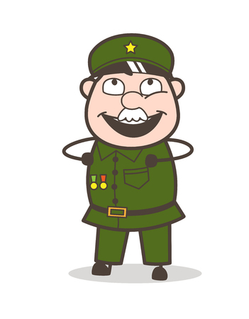 Cartoon of an old soldier with a happy expression. Иллюстрация