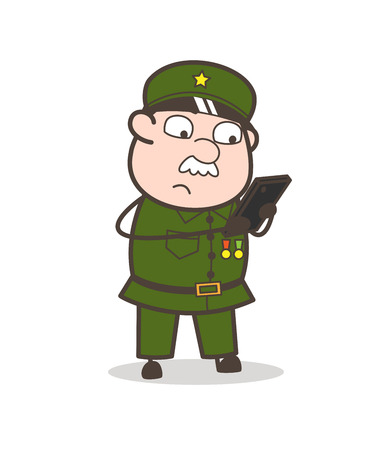 Cartoon of an old soldier holding a phone. Иллюстрация